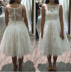 Elegant Short Wedding Dress Tea-Length Bridal Dress White Tulle Applique Beaded Ribbons Vestidos De Noiva Custom Made L5021