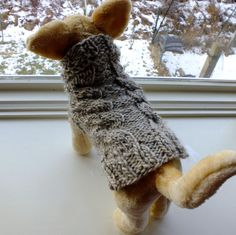 Dog Sweater Hand Knit Double Cable Oatmeal X Small 11 by jenya2, $28.99