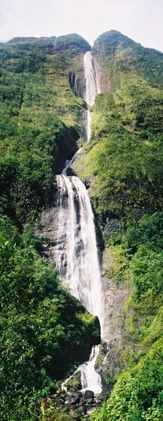 Cascade of the bride Salazie Reunion Island www hotelscombine Cascade de la mari e Salazie Voyage Reunion, Places To Travel, Places To Visit, Les Cascades, Photos Voyages, Beautiful Waterfalls, Belleza Natural, Adventure Is Out There, Amazing Destinations