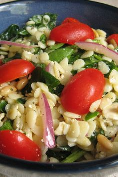 Spinach and Orzo Salad with olive oil and balsamic vinegar - served cold