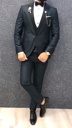 Collection: Spring Summer 2019 Product: Slim Fit Tuxedo Color Code: Green Size: Suit Material: viscose polyester Machine Washable: No Fitting: Slim-fit Package Include: Jacket Vest Pants Only Gifts: Shirt Chain and Bow Tie Barboor Slim Fit Tuxedo - Green Mens Casual Suits, Dress Suits For Men, Stylish Mens Outfits, Outfits For Men, Blazer Outfits Men, Mens Fashion Blazer, Suit Fashion, Slim Fit Tuxedo, Tuxedo For Men