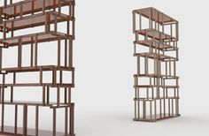 Living divani (art direction Piero Lissoni): Off Cut ethereal bookcase built of small pieces of wood with invisible glass shelves, by Nathan Yong.