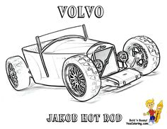 Hot Rod Car Coloring Pages Printable