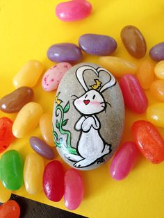 Bunny and friends handpainted stone with message by Mammabook