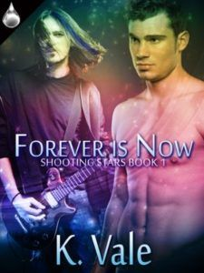 Title: Forever Is Now (Shooting Stars Author Name & Publisher: K. Vale (Liquid Silver Books) Publication Date & Length: September 2013 – 154 pgs When Alex confronts ex-lover Ch… Romance Authors, Romance Books, Novels To Read, If You Love Someone, Reading Time, Shooting Stars, Book 1, Chemistry, Love Story