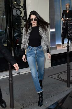 Bella Hadid| Top| Black| Long sleeve| Tucked in| Sweater| Vest| Fur| Grey| Gray| Jeans| Denim| Ankle| Boots| Leather| Booties| Fall| Autumn| Winter| P422