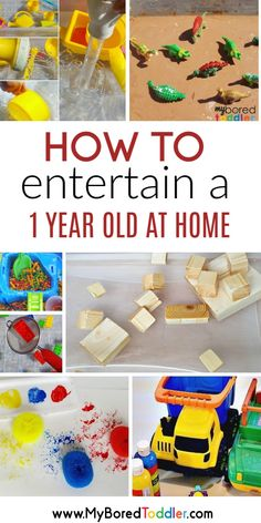 Easy 1 year old (one year old) activity ideas that you can do at home - simple fun and activities for 12 month olds #toddleractivity #myboredtoddler Toddler Play, Toddler Learning, Baby Play, Toddler Preschool, Toddler Crafts, Kids Crafts, Sensory Play For Toddlers, Infant Play, Fun Activities For Toddlers