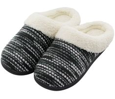 HomeTop Women's Indoor/Otudoor Knitted Plush Fleece Lined Slip On Memory Foam Black Slippers, Knitted Slippers, Colchas Quilting, Luxury Shoes, Shoe Collection, On Shoes, Memory Foam, Plush, Slip On
