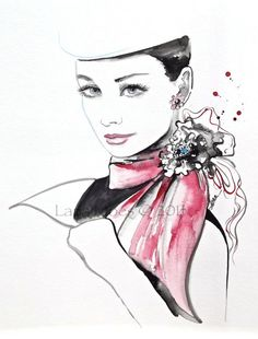 Original Fashion Watercolor - Chanel Style Illustration - Watercolor Painting by Lana