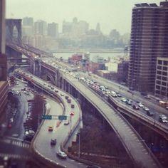 Brooklyn Bridge on- and off-ramps, Manhattan looking toward Brooklyn