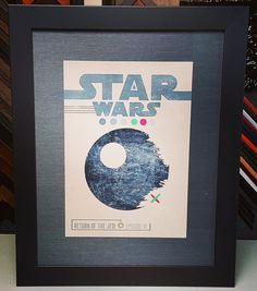 Star Wars: Return of the Jedi print custom framed with linen matting and museum glass! #art #pictureframing #customframing #denver #colorado #starwars #returnofthejedi