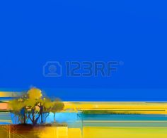 Abstract colorful oil painting landscape on canvas. Semi- abstract image of tree…