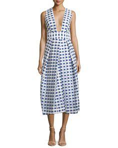 Milly Elisa Sleeveless Gingham Fil Coupe Midi Dress, Cobalt | Neiman Marcus