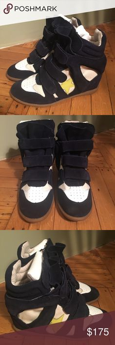 Isabel Marant Wedge Sneakers. Navy with gold star Barely worn and super plush suede. Beautiful condition. Shoes marked Euro size 40 (size 10) but feels like American size 9. Isabel Marant Shoes Sneakers