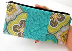 Zipper Pouch ECO Friendly Padded Double Teal Tiles by JPATPURSES, $12.00