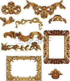 Marcos de cuadros antiguos de oro Conjunto de la vendimia aislado en el fondo…