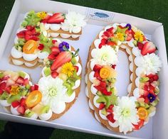 A fruity and happy cake design. Alphabet Cake, 50th Cake, 50th Birthday Cakes, Special Birthday Cakes, 50 Birthday, Happy 50th Birthday, Biscuit Cake, Number Cakes, Fancy Cakes