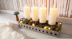 Kerzenleuchter ab 19,99€. Kerzenhalter / Adventsleuchter, Mit durchbrochenem Sternmotiv, Material: Holz, Wahlweise mit Kugeln und Engelshaar bei OTTO
