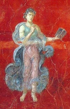 Fresco, Inn of the Sulpicii. In 1959 during road construction in the Agro Murcine workmen unearthed the remains of a villa about 600m south of Pompeii's Stabia Gate near the ancient mouth of the River Sarno. The triclinium features frescoes of the cycle of the muses. The central figure on the west wall is Calliope, the Muse of Epic Poetry