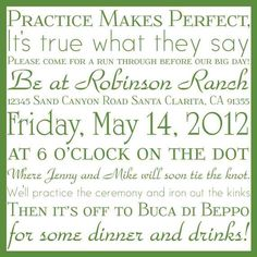 Cute idea for invitations to the rehearsal dinner