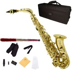 Cecilio 2Series As-280 Lacquer Eb Alto Saxophone With Mouthpiece, Case, 10 Reeds And Accessories - Gold, 2015 Amazon Top Rated Saxophones #MusicalInstruments