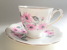 Royal Standard Tea Cup and Saucer, English Bone China, Antique Tea Cups, Tea Set, Antique Teacups, Pink Daisy Cups, Tea Party by AprilsLuxuries on Etsy