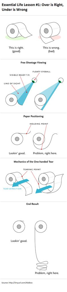 """I tend to have a little OCD when it comes to how you hang up the toilet paper roll. Here's a sweet """"geek"""" explanation as to why I've been RIGHT all these years! LOL"""
