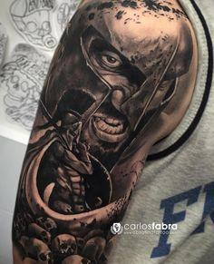 tattoo.artists on Somegram • Posts, Videos & Stories #somegram #tattoos For Sparta!!! Awesome B&G tattoo art Artist IG: carlosfabra_cosafina Warrior Tattoos, Leo Tattoos, Badass Tattoos, Viking Tattoos, Body Art Tattoos, Tattoos For Guys, Sleeve Tattoos, Forearm Tattoo Design, Forearm Tattoo Men