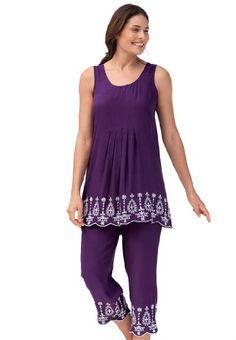 Fashion Bug Women's Plus Size Tank top and capri pant set with embroidery. www.fashionbug.us #plussize