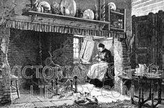 Victorian picture to download showing a drawing of a woman sitting knitting in…