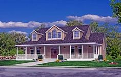 Coastal Country Farmhouse Southern Traditional House Plan 79521 Elevation