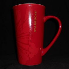 2014 Starbucks Coffee Mug Tall 17.8oz Red Starburst Pattern #Starbucks