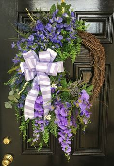 XLG Spring thru Summer - Wreath in Lavender with Wisteria and Wildflowers #Handmade