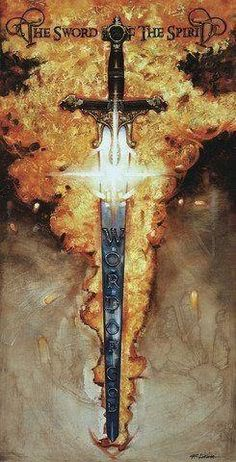 """""""The Sword of The Spirit"""" by Ron DiCianni. >>> Book cover: on the sword, write """"The Sword of the Spirit, the Word of God"""" in Latin or Hebrew :) Spiritual Warrior, Prayer Warrior, Spiritual Warfare, Sword Of The Spirit, Christian Warrior, Saint Esprit, Templer, Bride Of Christ, Prophetic Art"""