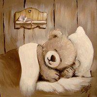tableau peinture ourson j 39 chuis pas content sur toile de lin peinture sur lin pinterest. Black Bedroom Furniture Sets. Home Design Ideas