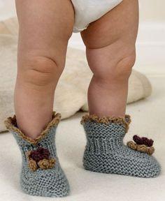детские пинетки-носочки спицами