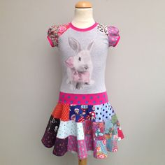 Size 6 48 inch upcycled girls dress  with patchwork by dressme