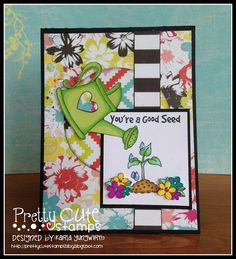 Creative Love Affair - Grow stamp set by Pretty Cute Stamps! A pretty Spring greeting card.