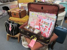 Phoenix Scrapbook Store antique mall booth suitcase display...