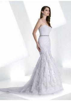 Lace Mermaid Sweetheart Wedding Dresses With Ruffled Skirt And Fabulous Sash