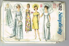 Vintage Sewing Pattern Simplicity 6352 Wedding Dress with Empire Waist and Train, Bridesmaid Gown - Junior Miss Size 13 Bust 33 Simplicity Sewing Patterns, Vintage Sewing Patterns, Bridal Wedding Dresses, Bridesmaid Dresses, Wedding Wear, Wedding Dress Sewing Patterns, 1960s Wedding, Vintage Bridal, Vintage Dress