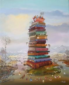 I started out looking for book towers - this is what I found Stack of Books http://isabelleplante.com