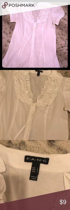 Fang Ruffle Neck Short Sleeve Blouse, L Fang Ruffle Neck Short Sleeve Blouse, L fang Tops Blouses