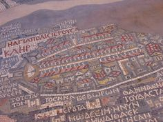 Floor Tiles, Madaba, Jordan from Travel Pod (photo by Byrnedm) The towns chief mosiac is this one, found on the floor of the 1896 contemporary Greek Orthodox church of St. George. A 6th-century (570AD) Byzantine mosaic map showing the region from Jordan & Palestine in the north, to Egypt in the south, with particular detail for the depiction of Jerusalem. Only part of the map has been preserved; it originally measured 25 x 5 meters & was made of more than 2 million pieces of coloured stone.