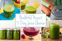 3 Day Juice Cleanse: Unlimited veggie juice,1 fruit/veggie combo juice per day, 1 fruit-based smoothie per day, and unlimited water with fresh lemon juice.   Complete with recipes for each day and a shopping list.