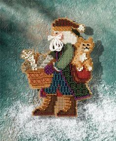 Smoky Mountain Santa - Appalachian Santas (kit): Kit includes Mill Hill Glass Beads, Mill Hill Perforated Paper, floss, needles and instructions. Finished size x Santa Cross Stitch, Beaded Cross Stitch, Cross Stitch Alphabet, Cross Stitch Kits, Counted Cross Stitch Patterns, Cross Stitch Embroidery, Mill Hill Beads, Christmas Quilt Patterns, Needlepoint Pillows