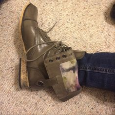 Grey combat boots Grey with purple flowered Mix no 6 Shoes Combat & Moto Boots