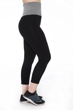 076042dc3f Unique Styles Fold-over Colored Waistband Stretchy Cotton-Blend Yoga Capri  Pants