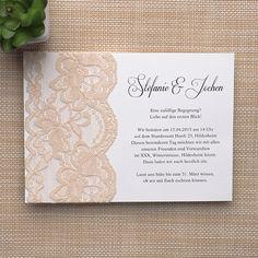 klassisch beige Spitze Einladungskarte Hochzeit Neue Einladungskarten für Hochzeit 2015 sind jetzt beim Onlineshop verfügbar! #weddinginvitations #lace