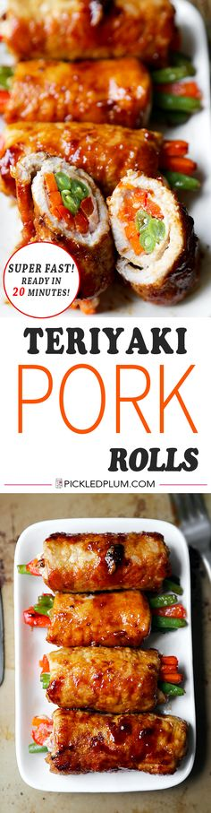 Teriyaki Pork Rolls - Sweet & savory teriyaki pork rolls filled with veggies make these pork rolls easy for kids to love! Recipe, easy, healthy, meat, main | pickledplum.com